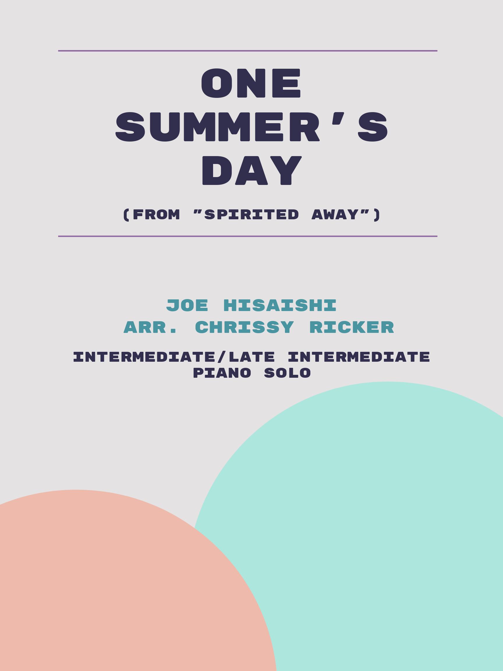 One Summer's Day by Joe Hisaishi