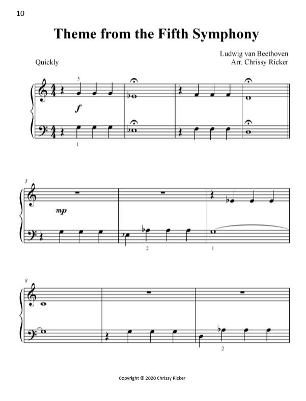 Theme from the Fifth Symphony Sample Page