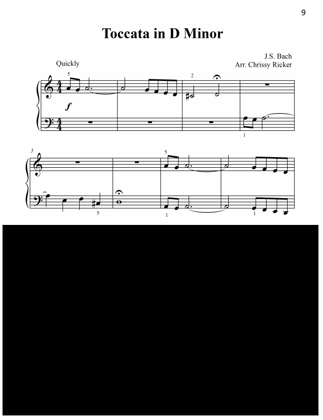 Toccata in D Minor Sample Page