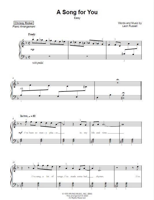 A Song for You Sample Page