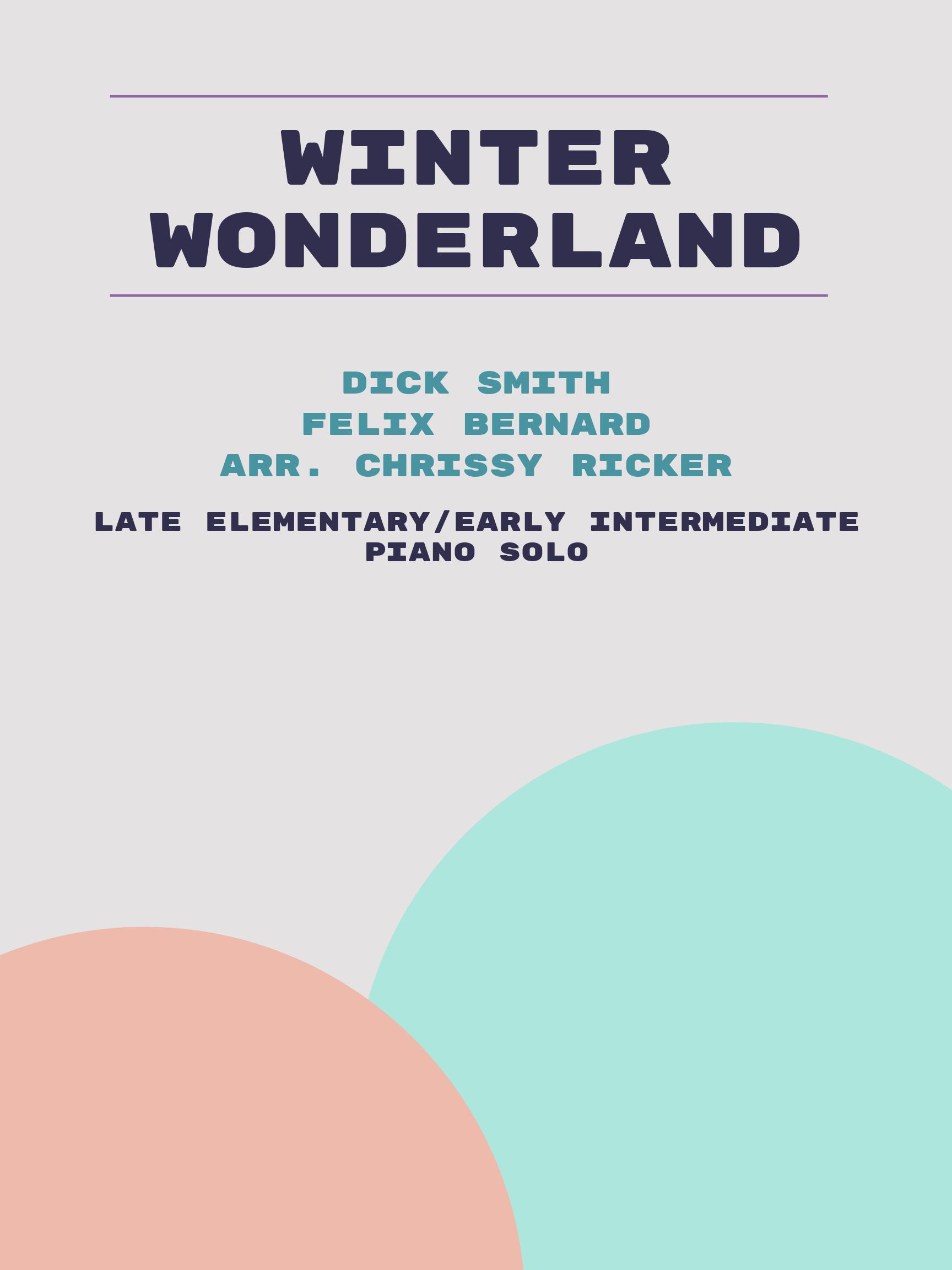 Winter Wonderland by Dick Smith, Felix Bernard