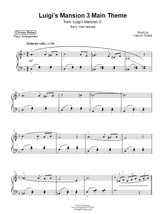 Luigi's Mansion 3 Main Theme Sample Page